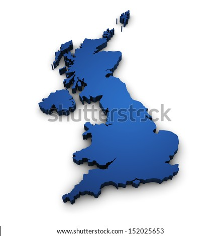 Great Britain design with 3d shape of United Kingdom map colored in blue and isolated on white background. - stock photo
