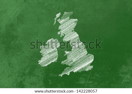 Great Britain drawn on a blackboard - stock photo