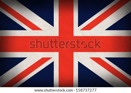 Great Britain flag on recycle paper background,symbol of patriot - stock photo