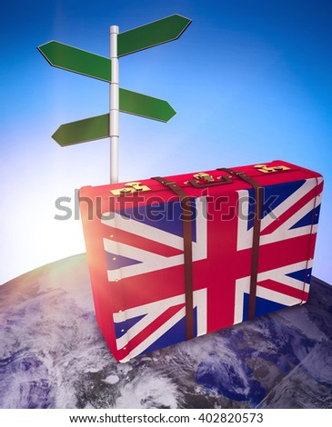 Great Britain flag suitcase against blue sky - stock photo