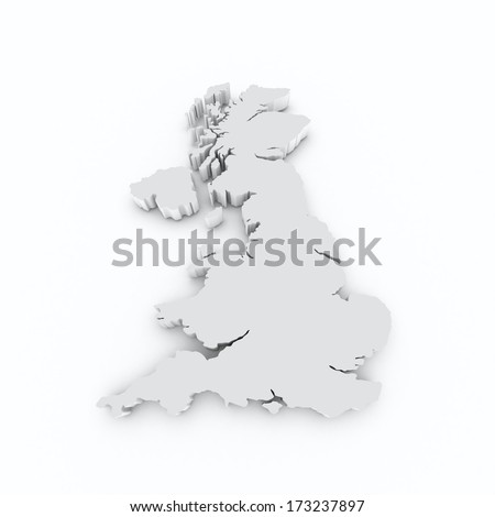 Great Britain grey on white isolated - stock photo