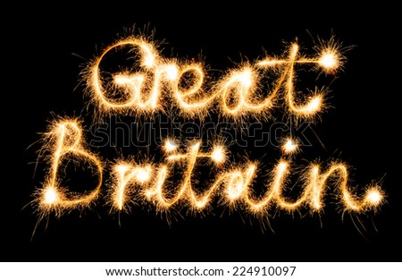 Great Britain made of sparkles on black background - stock photo