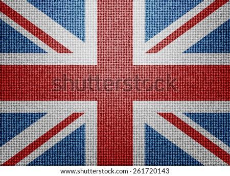 Great Britain textile flag - stock photo