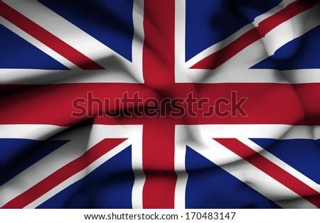 Great Britain waving flag - stock photo