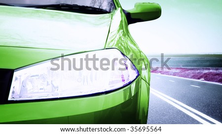 Great Car - Front side, half. On the road. - stock photo