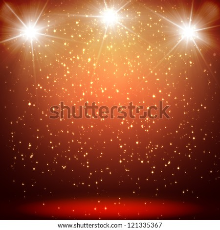 great christmas background with shining stars and rays - stock photo