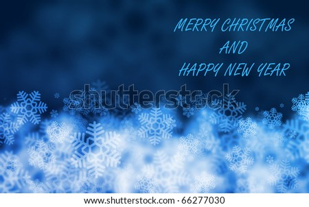 Great christmas blue background with snowflakes. - stock photo