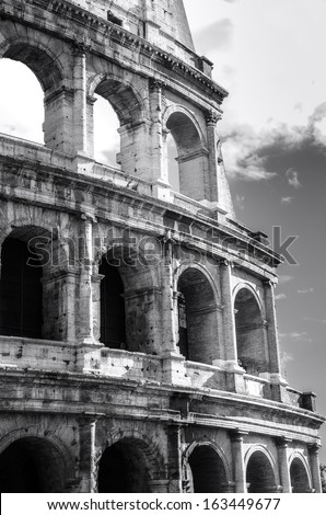 Great Colosseum, Rome, Italy. Black and white photo - stock photo