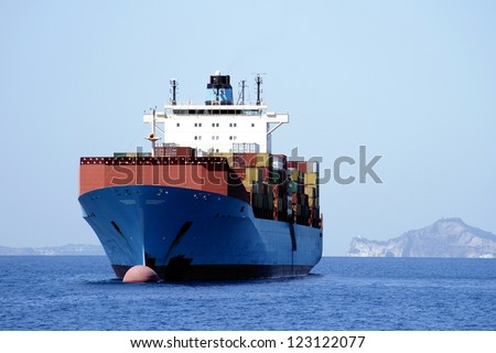 Great container ship anchored waiting permission to go to Naples port - stock photo