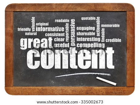 great content word cloud on a vintage blackboard - bloging and content marketing concept - stock photo