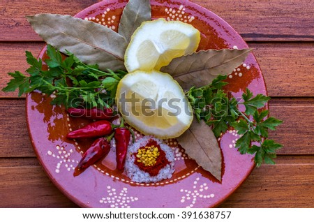 Great dish of spices in amazing background - stock photo