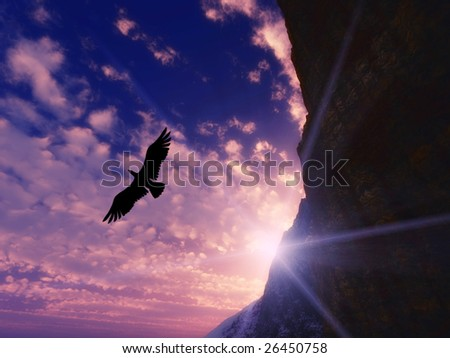 Great eagle flying on a blue sky - stock photo