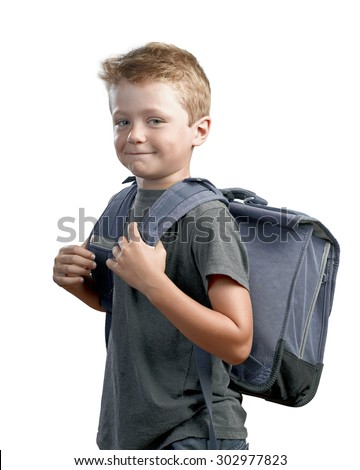 Great expression from kid ready for going back to school - stock photo