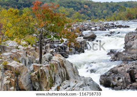 Great Falls National Park on Potomac River in Virginia USA - stock photo
