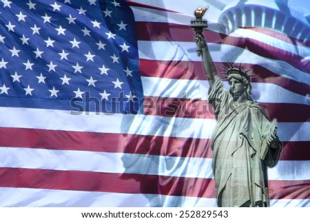 Great for 4th of July, President's day, Federal day, Memorial day or any National Holidays.Liberty Statue and the US National flag. - stock photo