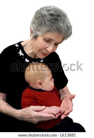 Great-grandmother comparing her hands with her great-grandchild's. - stock photo