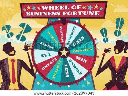 Great illustration of Retro styled Business rivals gambling their financial futures on the big spinning Wheel of Business Fortune hoping to win first place in the business world. - stock photo