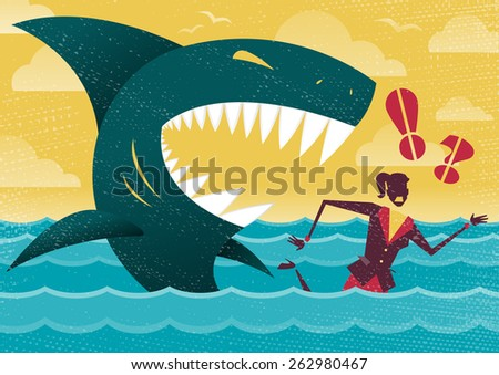 Great illustration of Retro styled Businesswoman Abandoned and helpless at sea in Shark infested waters and about to be eaten alive by a giant Killer Great White Shark. - stock photo