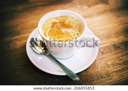 Great Italian coffee in a white cup  - stock photo