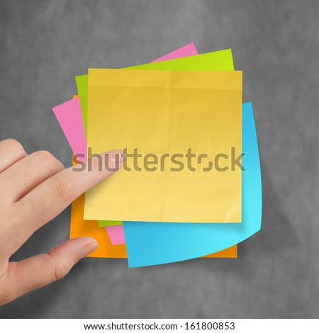 great job sticky notes on recycle crumpled paper background as concept - stock photo