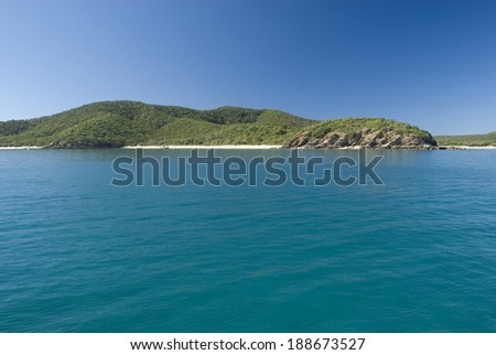 Great Keppel Island, Queensland , Australia is a beautiful tropical island with numerous beaches and resorts lying off the Capricorn Coast , view from the sea - stock photo
