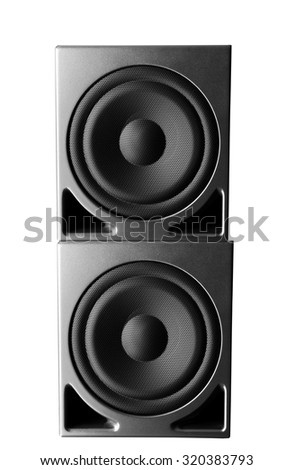 Great loud speakers isolated on white. - stock photo