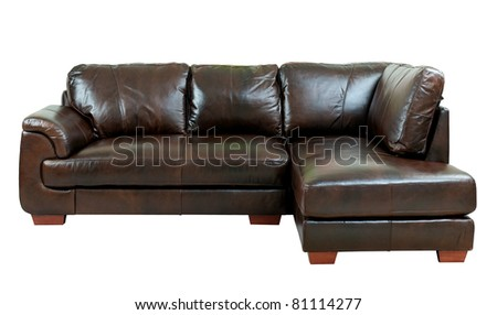 Great luxury of the dark brown leather sofa bench isolated on white background - stock photo