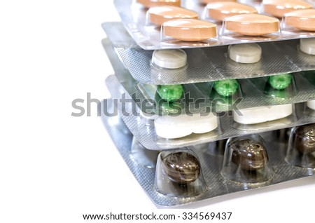 Great medication photo in white background - stock photo