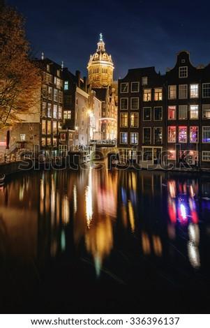 Great night atmosphere of Amsterdam. - stock photo