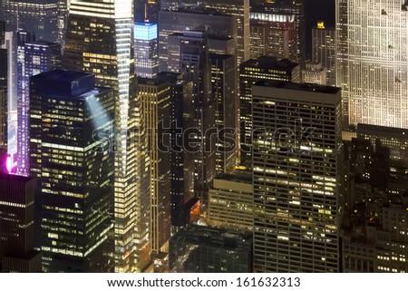 Great night view over New York skyscraper - stock photo