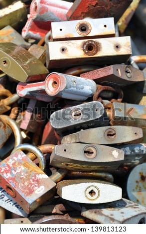 Great number of old locks - stock photo