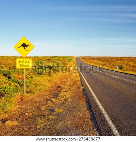 Great Ocean Road. Sign of kangaroos, Australia - stock photo