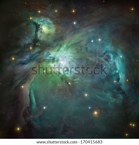 Great Orion nebula in deep space. Elements of image furnished by NASA. - stock photo