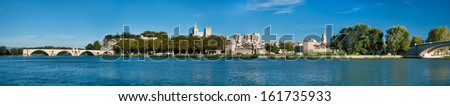 Great Panoramic view of Avignon old city and Rhone river - France - stock photo