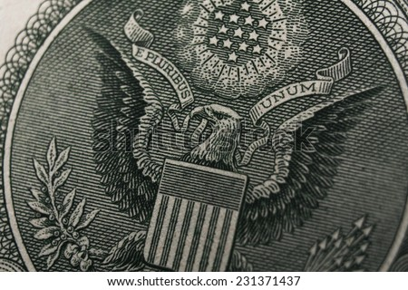 Great press of the USA. White-headed eagle. Note reverse one dollar - stock photo