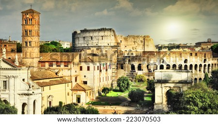 Great Rome, view of Colosseum and Forums - stock photo
