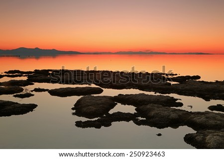 Great Salt Lake sunset, Utah, USA. - stock photo