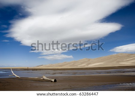 Great Sand Dunes in Eastern Colorado. - stock photo