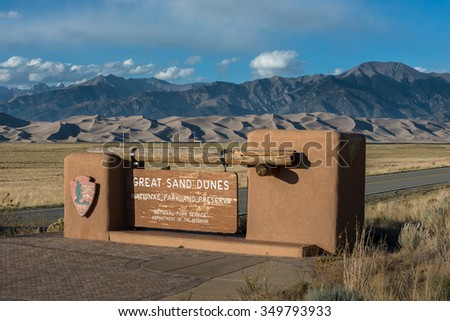 Great Sand Dunes National Park Entrance Sign Colorado USA - stock photo