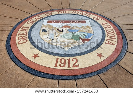 Great Seal of the State of Arizona 1912 at Arizona State Capitol, Phoenix - stock photo