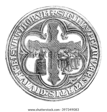 Great Seal of the town of Besancon, late thirteenth century, vintage engraved illustration. Magasin Pittoresque 1870. - stock photo