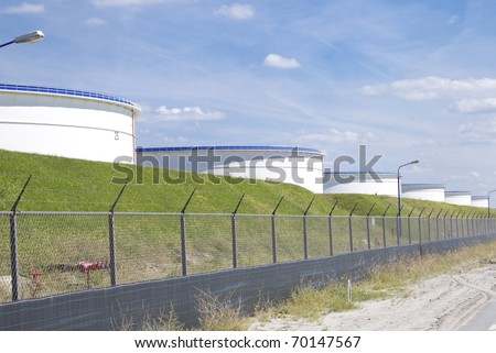 Great silos with petrol inside - stock photo