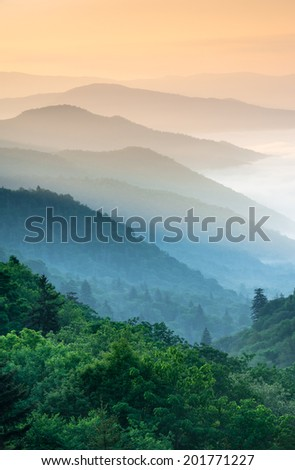 Great Smoky Mountain National Park Oconaluftee River Valley Overlook along Newfound Gap Road - stock photo