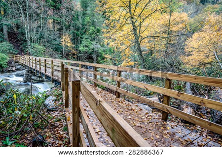 Great Smoky Mountains National Park - Bridge to Chimney Tops Trail  - Gatlinburg Pigeon Forge TN - stock photo