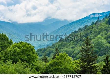 Great Smoky Mountains National Park, characteristic blue haze and mist rising from the Blue Ridge Mountains. - stock photo