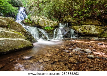 Great Smoky Mountains National Park Scenic Waterfall - Spruce Flats Falls - Tremont - vacation getaway destination - Gatlinburg Pigeon Forge TN  - stock photo