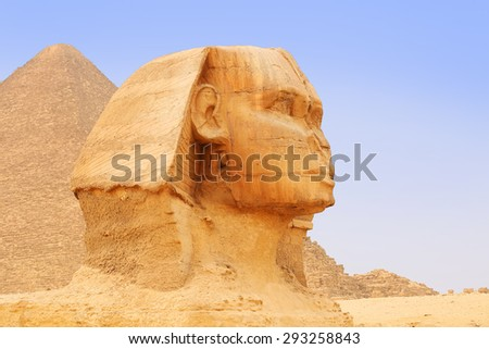 Great Sphinx of Giza and Pyramid. Cairo, Egypt - stock photo