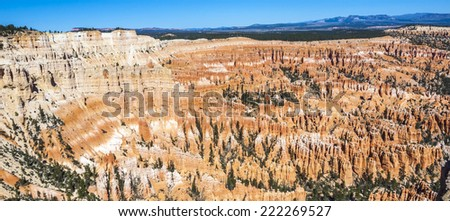 Great spires carved away by erosion in Bryce Canyon National Park, Utah, USA - stock photo