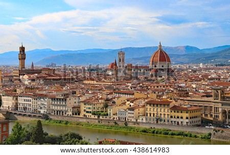 Great view of Florence in Italy with the dome of the Duomo and Palazzo Vecchio - stock photo