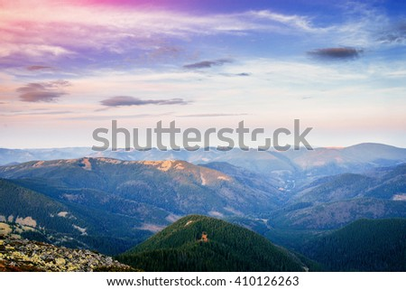 Great view of Rocky mountain, glowing in sunlight. Location place: Carpathian, Ukraine, Europe Artistic picture. Beautiful nature. Instagram toning effect. - stock photo